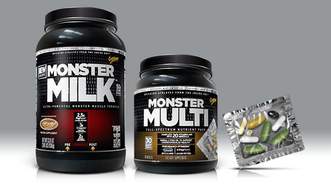 Monster Milk & Monster Multi powder tubs, plus capsule packet