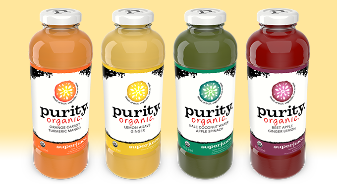 Purity Organic Superjuice 14oz lineup alternate angle