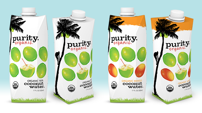 Purity Organic Coconut Water 17oz TetraPak lineup