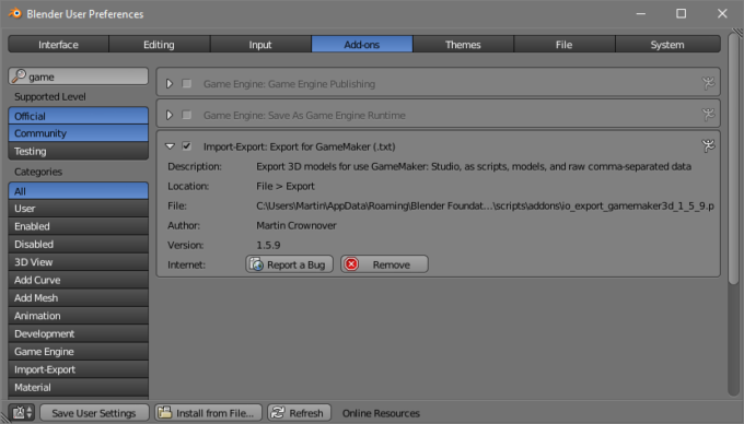 Blender Addon: Export GameMaker 3D Model Script | Martin